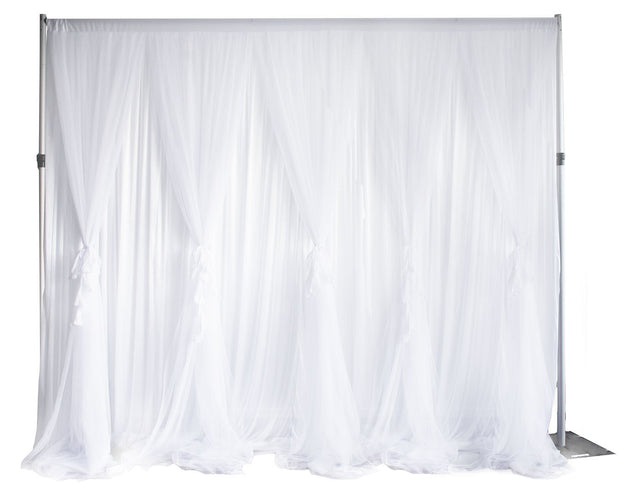 White Ruffle Tulle Backdrop Curtain with Satin Silk Backing 3mx3m