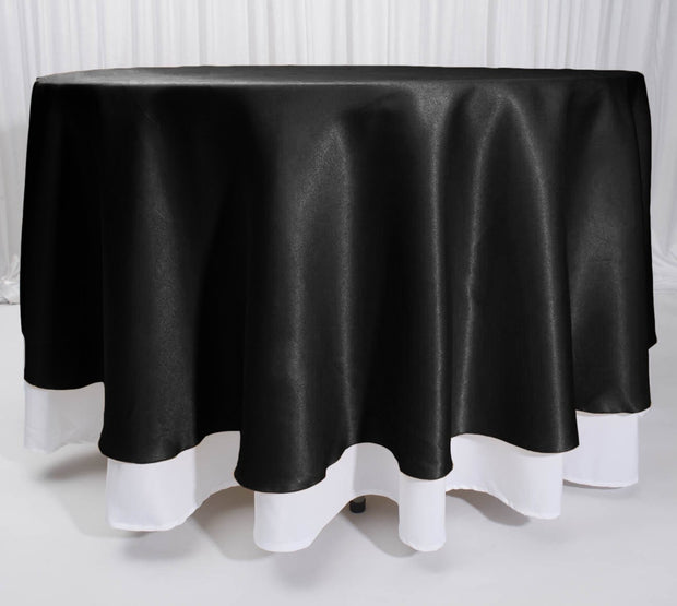 Black Round Satin Tablecloth Overlay (230cm)