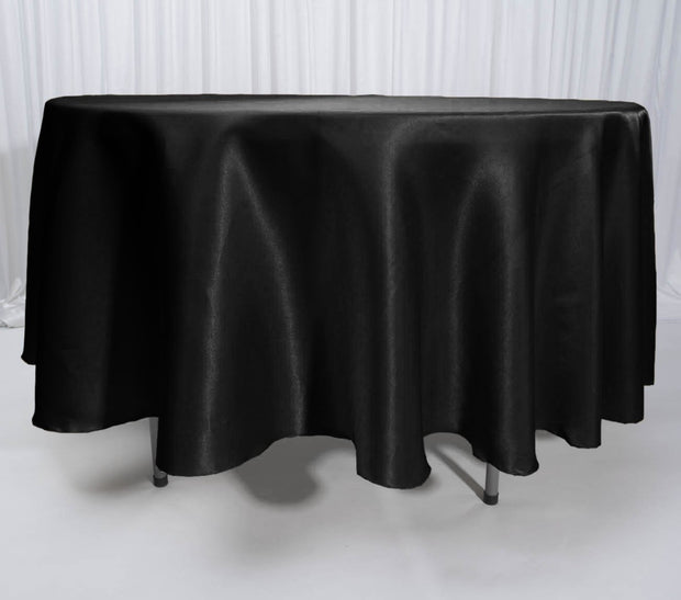 Black Round Satin Tablecloth Overlay (230cm) On It's Own