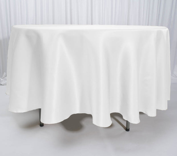 White Round Satin Tablecloth Overlay (230cm)