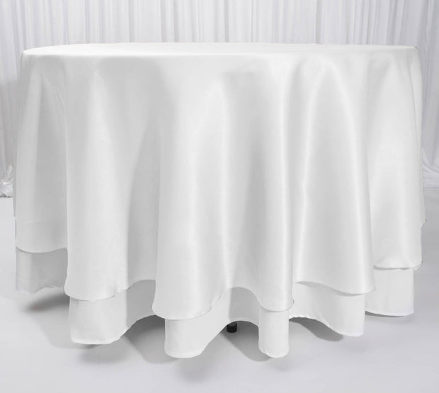 White Round Satin Tablecloth Overlay (230cm) On Tablecloth