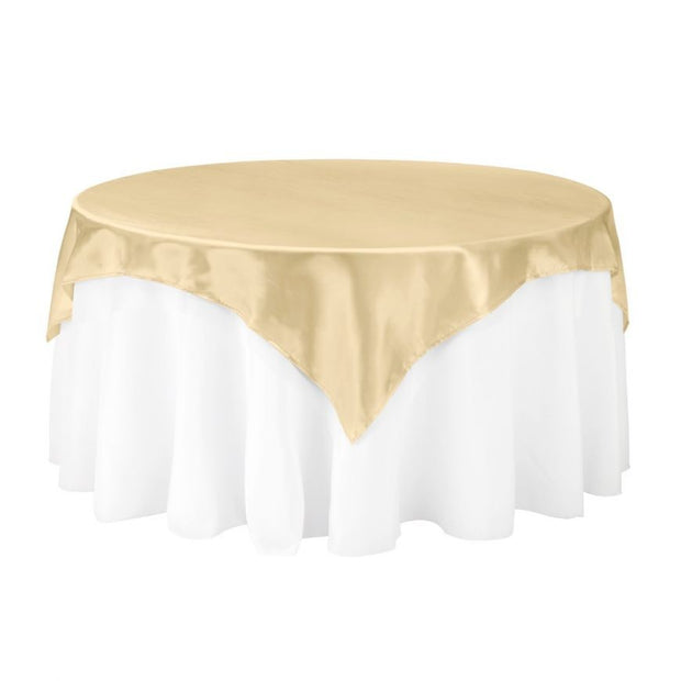 Gold Square Satin Tablecloth Overlay (230cm x 230cm)