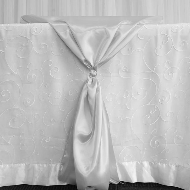 Satin Fabric Roll - Silver With Sparkly Diamante Buckle