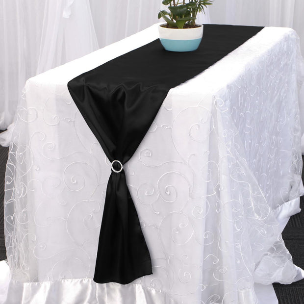 Satin Table Runners - Black With Diamante Buckle