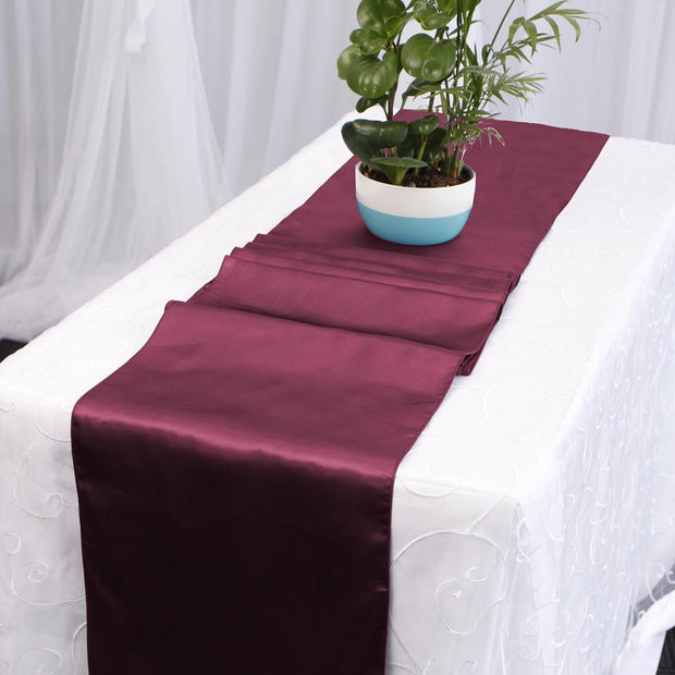 Satin Table Runners - Burgundy