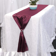 Satin Table Runners - Burgundy With Diamante Buckle