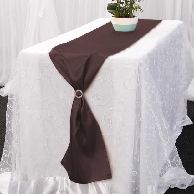 Satin Table Runners - Chocolate Brown With Diamante Buckle