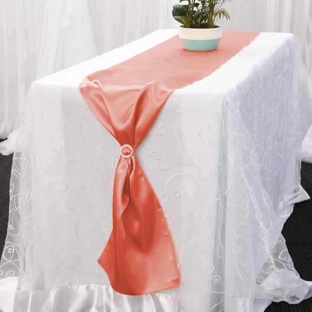 Satin Table Runners - Coral With Diamante Buckle