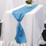 Satin Table Runners - Electric Blue With Diamante Buckle