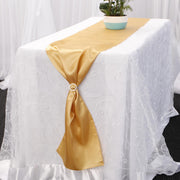 Satin Table Runners - Gold With Diamante Buckle