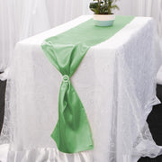 Satin Table Runners - Green With Diamante Buckle