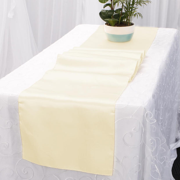 Satin Table Runners - Ivory