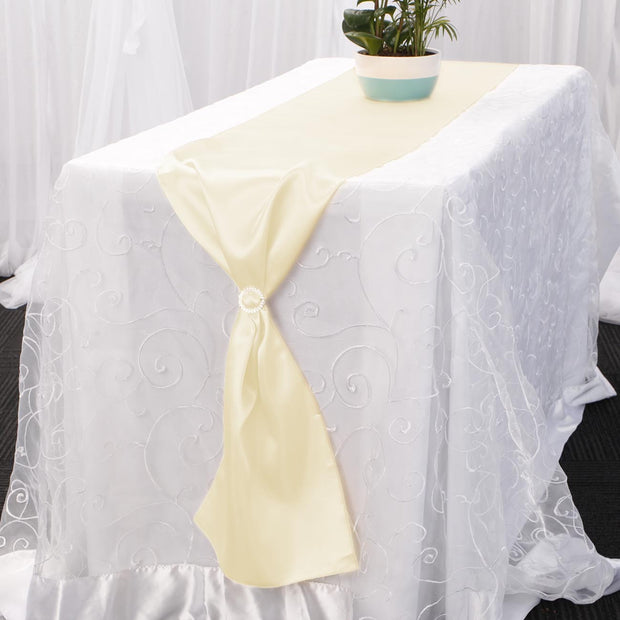 Satin Table Runners - Ivory With Diamante Buckle