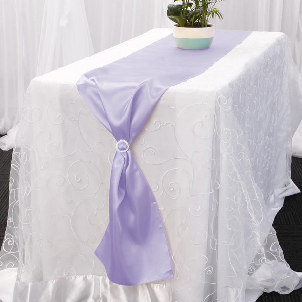 Satin Table Runners - Lavender With Diamante Buckle
