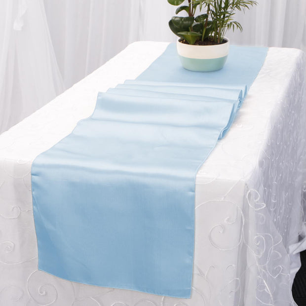 Satin Table Runners - Light Blue
