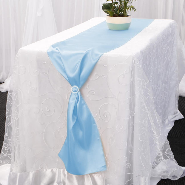 Satin Table Runners - Light Blue With Diamante Buckle