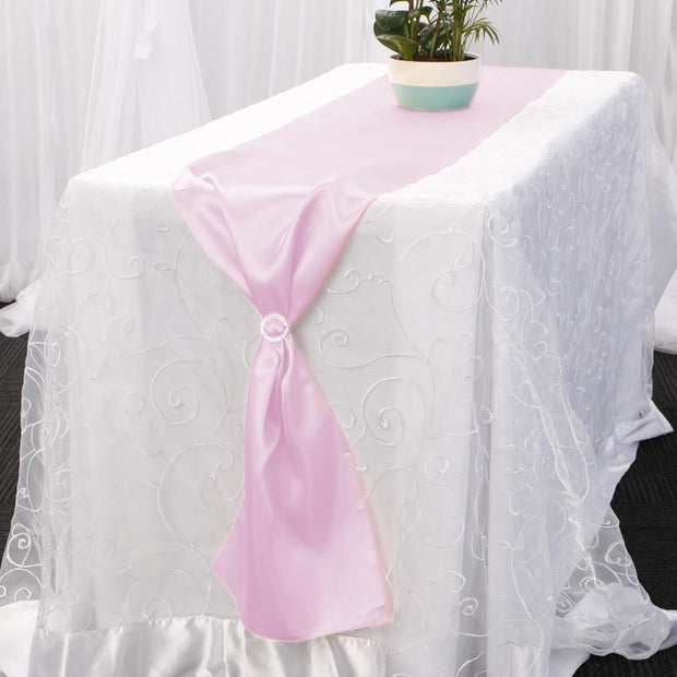 Satin Table Runners - Light Pink With Diamante Buckle