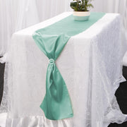 Satin Table Runners - Mint With Diamante Buckle