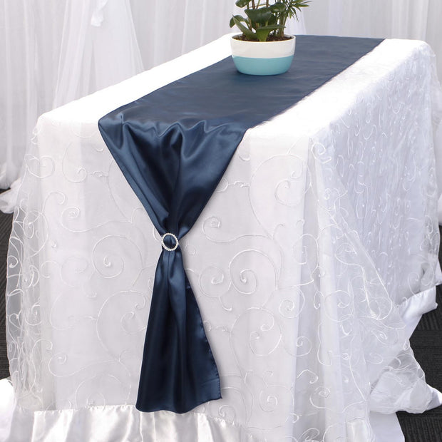 Satin Table Runners - Navy Blue With Diamante Buckle