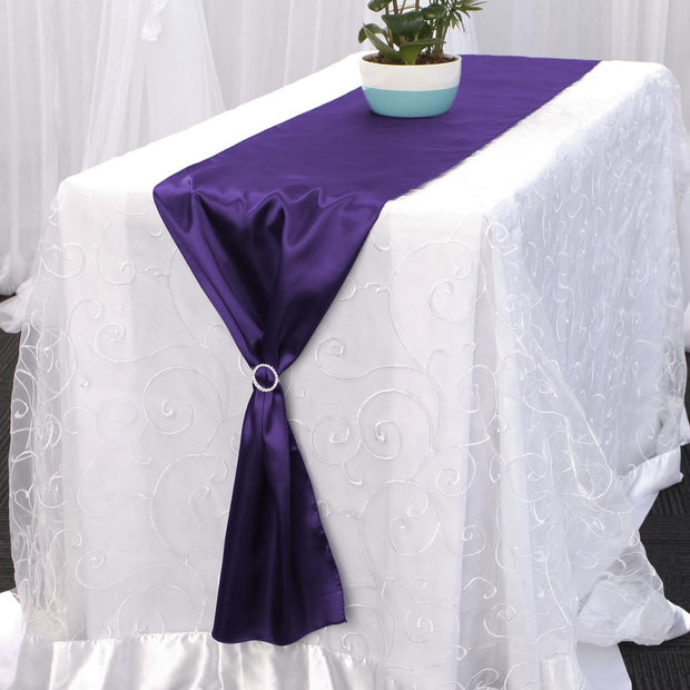 Satin Table Runners - Purple With Diamante Buckle