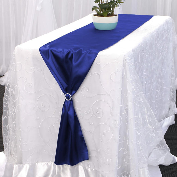 Satin Table Runners - Royal Blue With Diamante Buckle