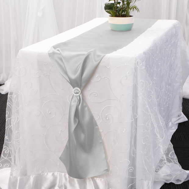Satin Table Runners - Silver Diamante Buckle