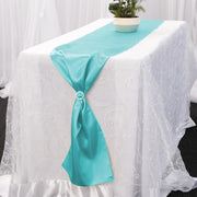 Satin Table Runners - Turquoise Diamante Buckle