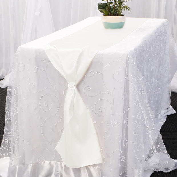 Satin Table Runners - White Diamante Buckle