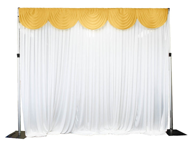 Ice Silk Satin 3m Swag  - Gold Fitted To Ice Silk Satin Backdrop