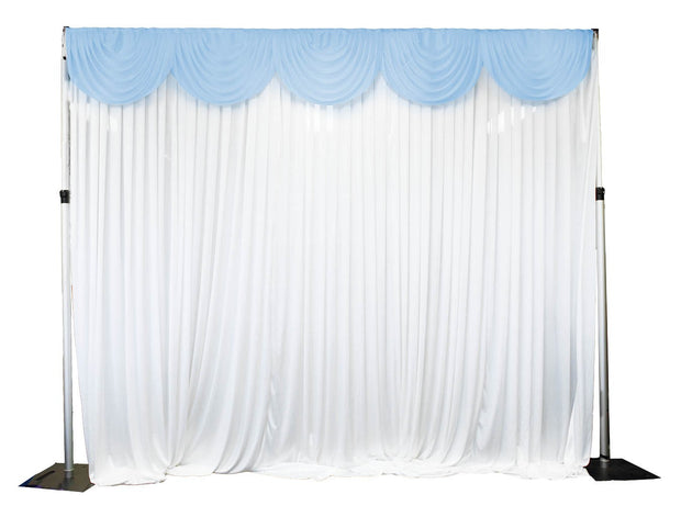 Ice Silk Satin 3m Swag  - Light Blue Fitted To Ice Silk Satin Backdrop