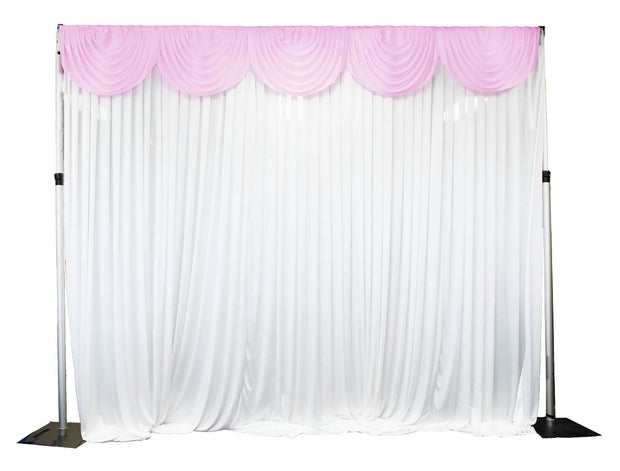 Ice Silk Satin 3m Swag  - Light Pink Fitted To Ice Silk Satin Backdrop