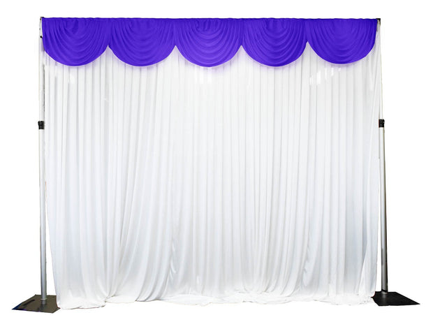 Ice Silk Satin 3m Swag  - Purple Fitted To Ice Silk Satin Backdrop