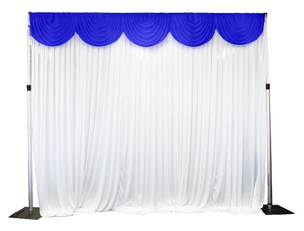 Ice Silk Satin 3m Swag  - Royal Blue Fitted To Ice Silk Satin Backdrop