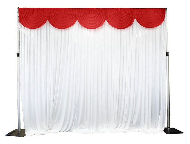 Ice Silk Satin 3m Swag  -  Red Fitted To Ice Silk Satin Backdrop