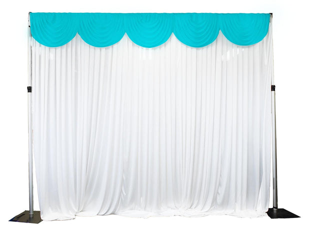 Ice Silk Satin 3m Swag  - Turquoise Fitted To Ice Silk Satin Backdrop