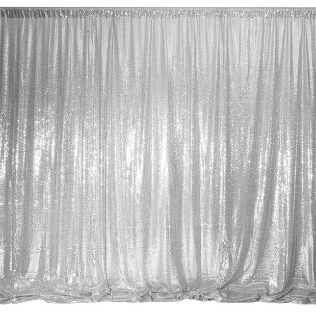 Silver Sequin Backdrop Curtain 3m x 1.25m