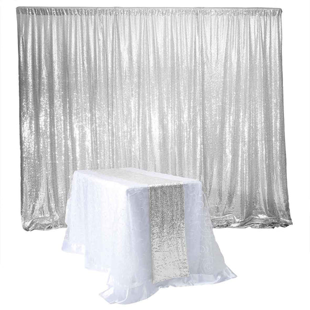Silver Sequin Backdrop Curtain 3m x 1.25m With Matching Table Runner (not included)