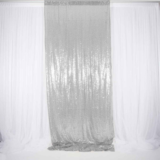 Silver Sequin Backdrop Curtain 3m x 1.25m Single