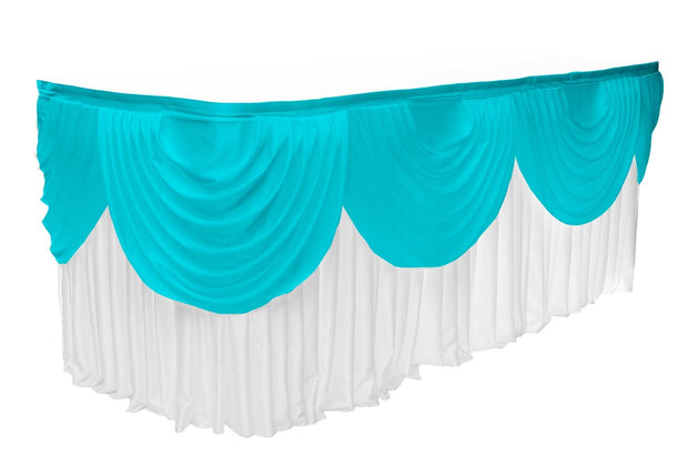 Ice Silk Satin 3m Swag  - Turquoise Fitted To Ice Silk Satin Skirt