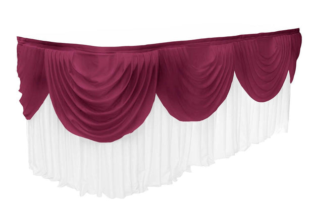 Ice Silk Satin 3m Swag  - Burgundy Fitted To Ice Silk Satin Skirt