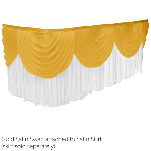Ice Silk Satin 3m Swag  - Gold Fitted To Ice Silk Satin Skirt