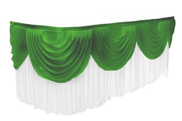 Ice Silk Satin 3m Swag  - Emerald Green (Jade) Fitted To Ice Silk Satin Skirt