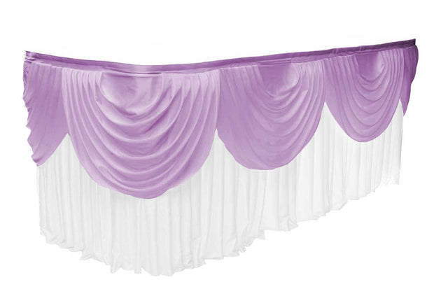 Ice Silk Satin 3m Swag  - Lavender Fitted To Ice Silk Satin Skirt