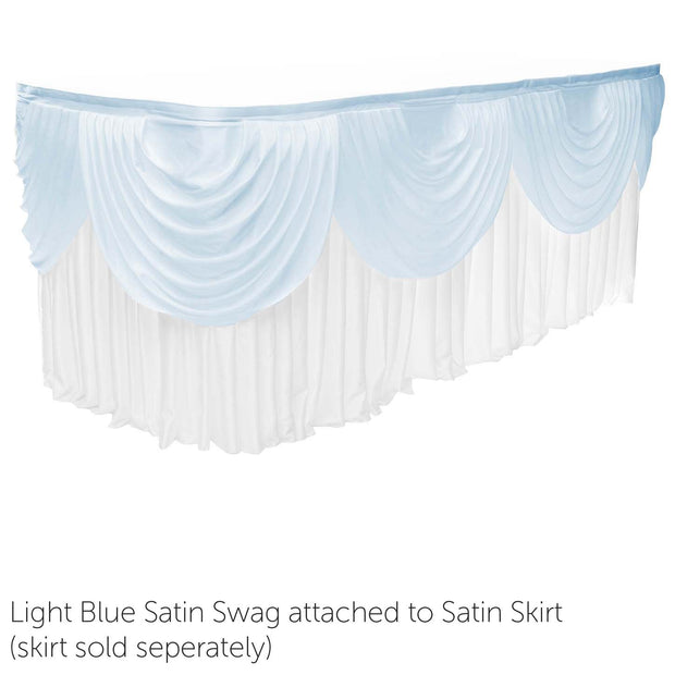 Ice Silk Satin 3m Swag  - Light Blue Fitted To Ice Silk Satin Skirt