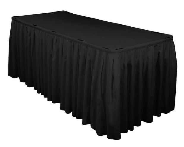 Black Table Skirting (8m) + BONUS Clips