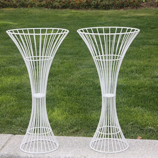 2pc White Pedestal Centrepiece Flower Stand Hour Glass Shape (60cm Tall) Outdoors