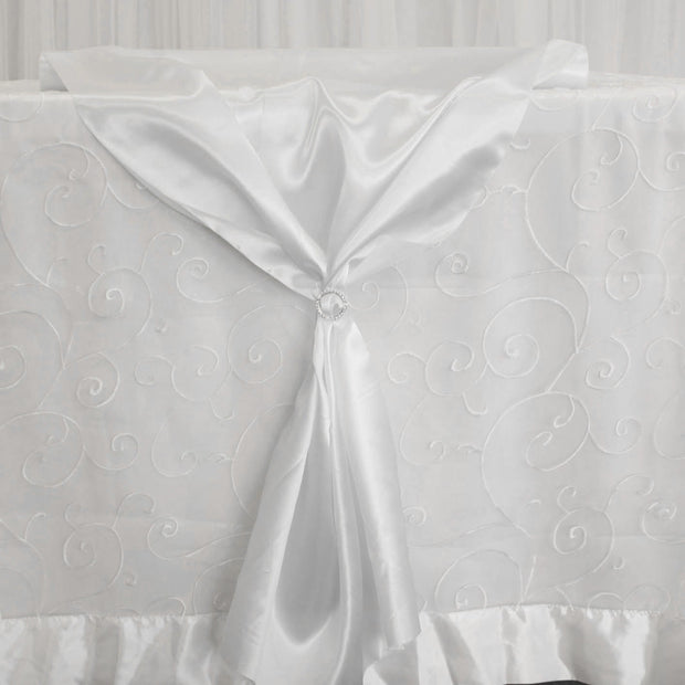 Satin Fabric Roll - White With Sparkly Diamante Buckle