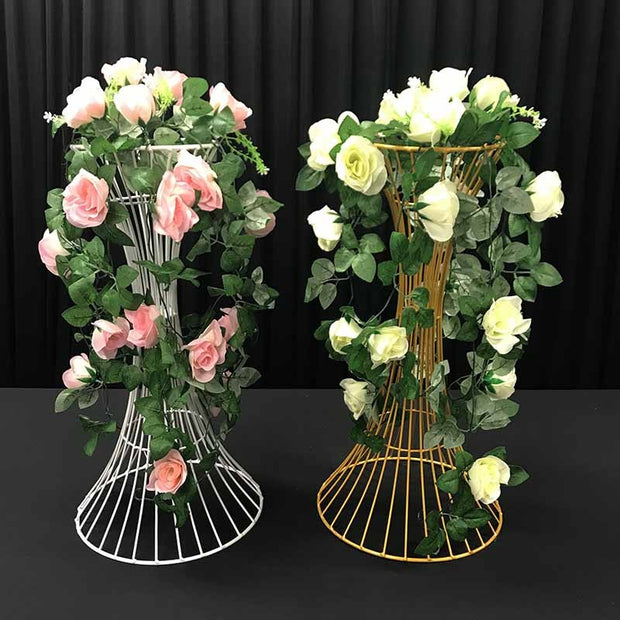 2pc White Pedestal Centrepiece Flower Stand Hour Glass Shape (60cm Tall) With Flower Arrangement 2