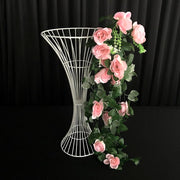 Artificial Pink Rose Bouquet on White hour glass iron stand