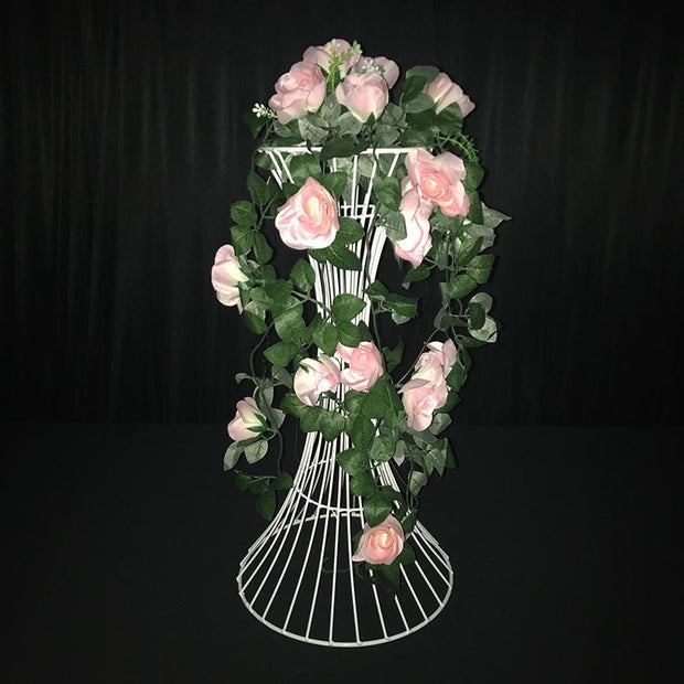 2pc White Pedestal Centrepiece Flower Stand Hour Glass Shape (60cm Tall) With Flower Arrangement 3